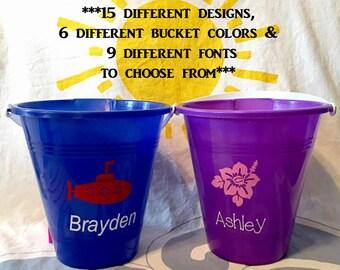 Sand Bucket, Beach Bucket, Personalized, Ocean Animals, Nautical, Summer, Kids, Beach, Sand, Mermaids, Seahorses