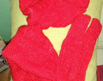 Red knitted scarf and hat