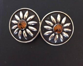 Vintage Silver Amber Earrings, Old Clip-On Earrings, Silver Flowers, Handmade Silver Earrings, Southwest Style Silver Earrings