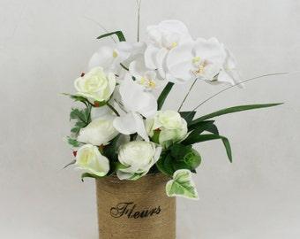Silk Rose and Orchid Handmade Arrangement in Jute Bucket, Faux Flowers in Vase
