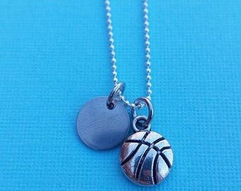 Sports necklace-customizable number-personalizable-basketball-silver-sports mom-mom gift- grandmother gift-hand stamped