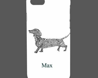 Personalised Name, Initials - Dashound - Dog - Red Heart - White - Protective Glossy Phone Cover Case iPhone iP Samsung Galaxy GS