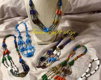 African multicoloured Beaded necklaces