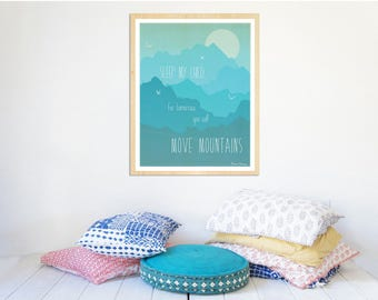 Move Mountains in Blue - Childrens Wall Art 11x14 Poster