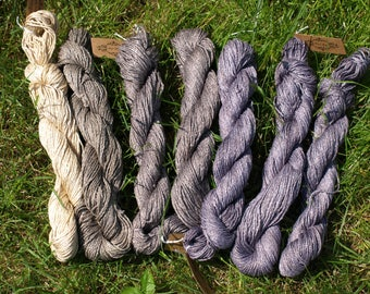Hand-dyed cotton-viscose summer yarn with plants