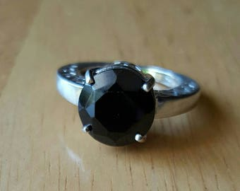 11mm black spinel and silver ring