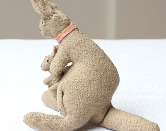 1930 Vintage small Kanga and Roo, Small Vintage Kangaroo Toy, Vintage Kangaroo soft toy