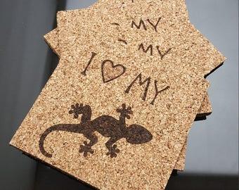 I Love My Gecko or Lizard Coasters