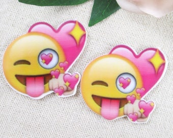 Emoji Resin, Emoticon Resin Flat Back, Happy Face, Hair Bows, Hair Bow Center, Cabochon 40 x 45mm, EMOTICON SMILEY face. Embellishments
