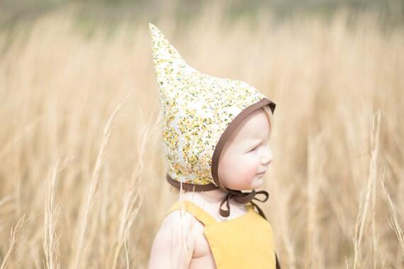 Pixie Bonnet // 013 yellow swiss dot floral