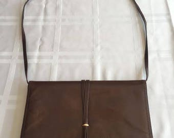 Morris Moskowitz vintage brown leather clutch purse with strap