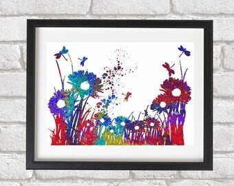 Modern painting Giclee Print whimsy daisies