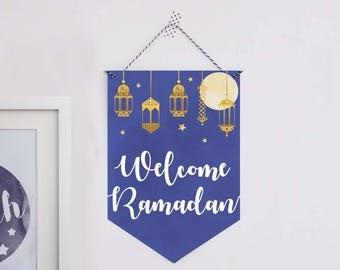 Welcome Ramadan decoration, Ramadan paper sign, Ramadan flag, Ramadan paper banner, Printable Ramadan decorations, Paper Ramadan decoration