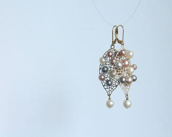 14KT Gold Earrings with Natural Multicolor Freshwater Pearls