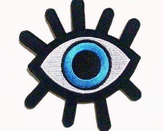 Demon blue eye Iron on Patch.