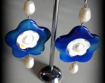 925 Silver earrings-Pearl freshwater Baroque Pearl blue agate
