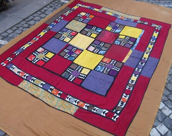 Patchwork Bedspread,Decorative bedding,used old textile cotton materials for this bedspread  207 cm x 177 cm ,6'9 ft x 5'9 ft