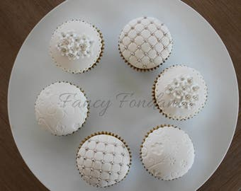 12  Edible Fondant  Elegant Wedding, Engagement. Party Cupcake Toppers