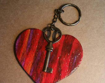 Dimpled Heart & Key -  Key Chain