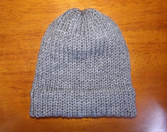 Knit winter hat with brim, grey heather