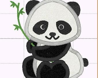 Panda Bear Applique Design - INSTANT DOWNLOAD - Embroidery Design - 4x4 5x7