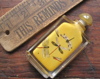 Antique Chinese craft art inside painted dragonfly crystal cut glass snuff bottle