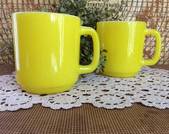 Vintage Yellow Glass Bake Retro Mugs. Milk glass. 1950s Kitchen. Pair!