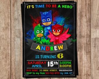 Pj Masks Invitation - Pj Masks Invite - Pj Masks Birthday - Pj Masks Party - Pj Masks Cards - Pj Masks Tags - Pj Masks Birthday Party