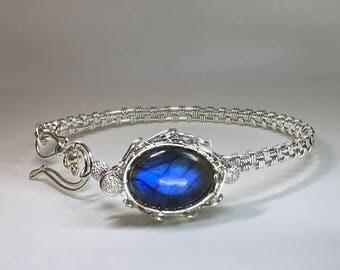 Bracelet, Bangle, sterling silver bangle, Labradorite bracelet, adjustable bracelet, sterling Silver Bracelet, Blue stone Bracelet