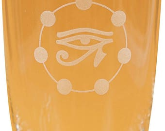 "2 water glasses with parapluesch engravings, 0, 3 l, ""Eye of Horus"", ""HomDii"", with additional engraving ""Flower of life"""