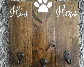 His & Hers Leash Holder, Key Holder, Entryway Decor, Key Hooks, Dog Leash Hook, Dog Leash Hanger, Key Hook Rack, Paw Prints