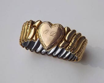 WWII SWEETHEART Expansion Bracelet Gold Filled HEART Repousse Links