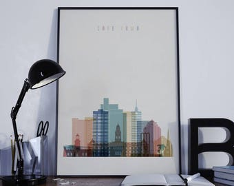 Cape Town Art Cape Town Watercolor Cape Town Multicolor Cape Town Wall Art Cape Town Wall Decor Cape Town Home Decor Cape Town Skyline