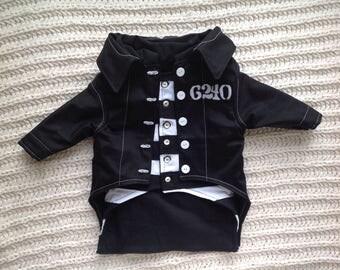 Elvis Presley Jailhouse Rock dog ensemble, with striped prison shirt and black prison jacket, custom fitted