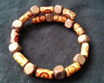 Memory wire wood bead bracelet