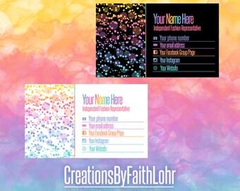 Rainbow Pastel Business Card Design Marketing LLR