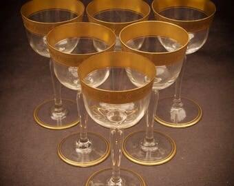 Set Of 6 Elegant Antique Gold Rimmed Wine Glasses