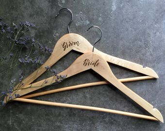 Wedding Dress Hangers. Personalised Engraved Wooden Bridal Hangers. Custom Name Hangers. Bridesmaid Bridal Party Gifts.
