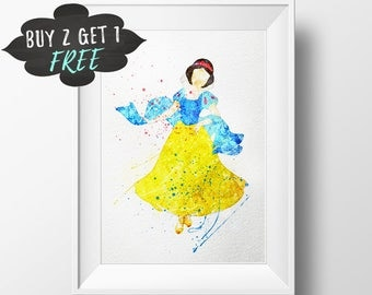 Snow White Art Print Poster, Disney Princess Wall Art Nursery Decor, Printable Watercolor Instant Download, Newborn Girls Nursery Decor