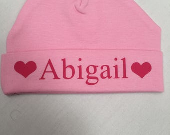 Newborn Baby Personalised beanie hat