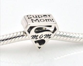 Sterling Silver Super Mom Charm - Mom Charm - Silver Mother Charm - Mom Love Charm -  Fits All Charm Bracelets