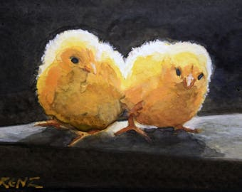 Original Watercolor Painting, Chicks, Art, Postcard Art