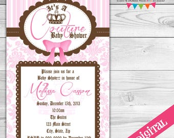 DIGITAL Couture Baby Invitations, Juicy party invitation, Couture Party invitation