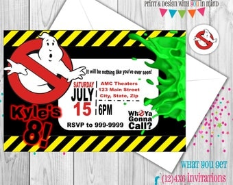 Ghostbuster invitations, ghostbuster party