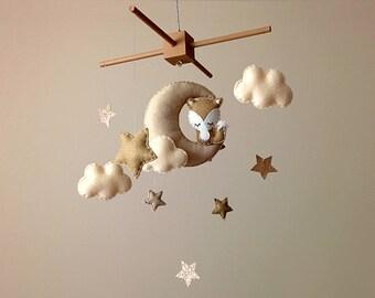 Fox Nursery Decor . Fox Baby Mobile . Neutral Nursery Decor . Moon & Stars Nursery Mobile . Brown Nursery Decor . Fox Cot Mobile