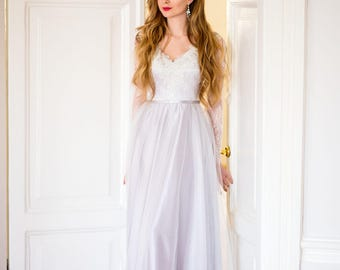 Bogemian wedding dress / Serenity dress / Grey gown / Wedding dress with sleeves / Lace gown / Hand embroidery