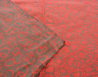 """Retro Vintage Mid Century Abstract Atomic Age Red and Charcoal Fabric 50"""" by 308 """""""