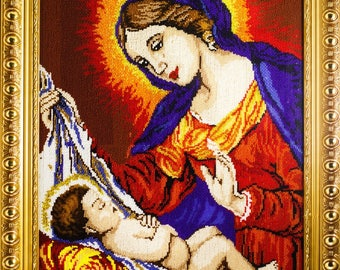 Beaded picture Madonna and Child bead-embroidered decor gift beadwork embroidery bead art interior design decoration