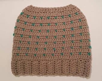 Ladies Bun Hat Grey & Green