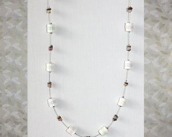 Modern paper bead necklace. Handmade paper jewelry. Minimalistic paper jewellery.